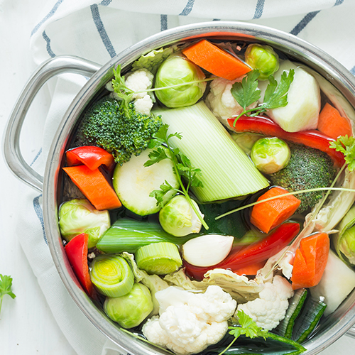 precooked pot of soup vegetables